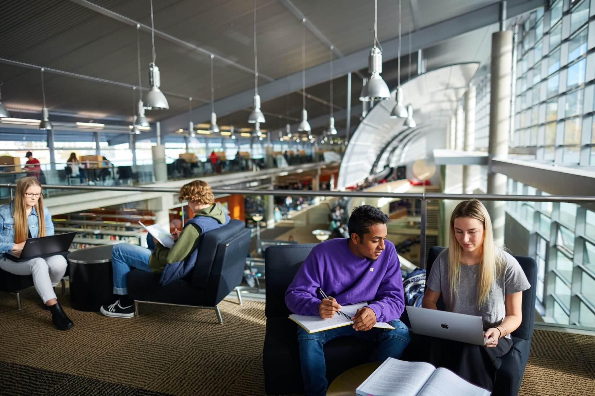在中央图书馆学习的学生